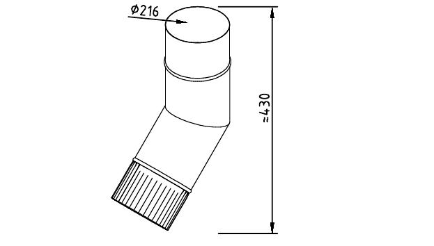 Чертеж фальцевого водосточного колена 216 мм