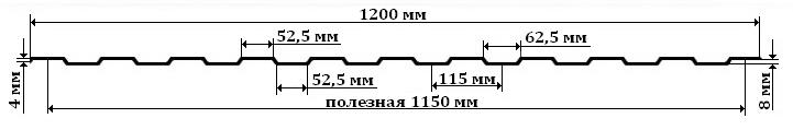 Профнастил С8 схема