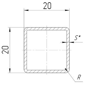 схема трубы 20х20