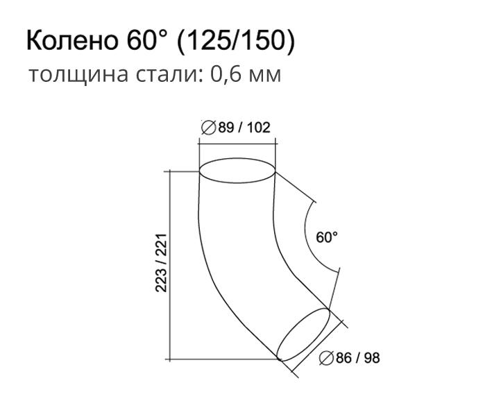 Колено трубы 100 мм Grand Line 60 градусов
