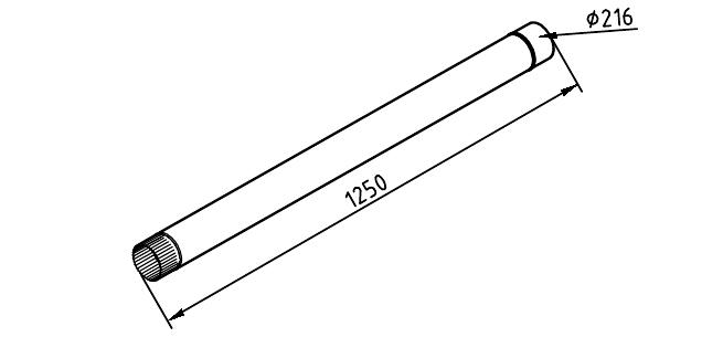 чертеж водосточной трубы 216 мм 1250