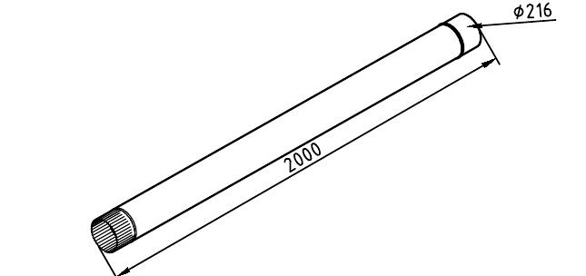 чертеж водосточной трубы 216 мм 2000