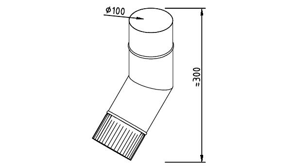 Чертеж фальцевого водосточного колена 100 мм