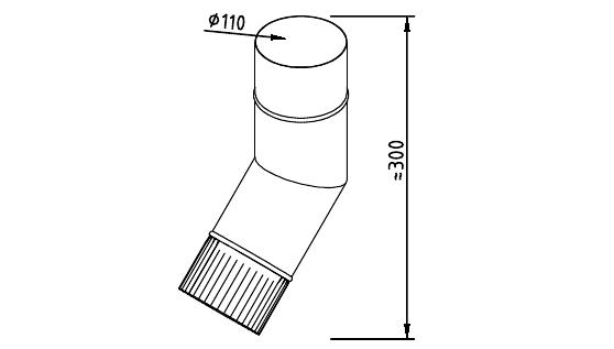 Чертеж фальцевого водосточного колена 110 мм