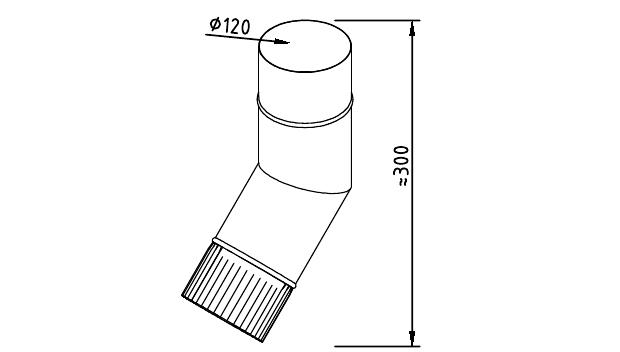 Чертеж фальцевого водосточного колена 120 мм