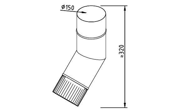Чертеж фальцевого водосточного колена 150 мм