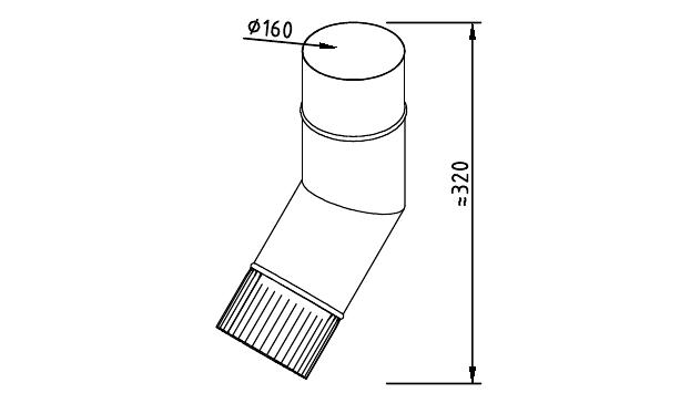 Чертеж фальцевого водосточного колена 160 мм
