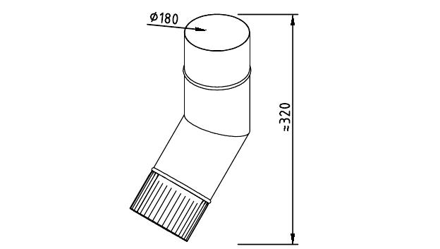 Чертеж фальцевого водосточного колена 180 мм