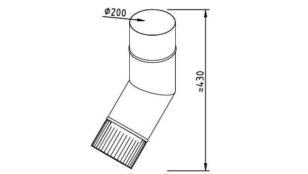 Чертеж фальцевого водосточного колена 200 мм