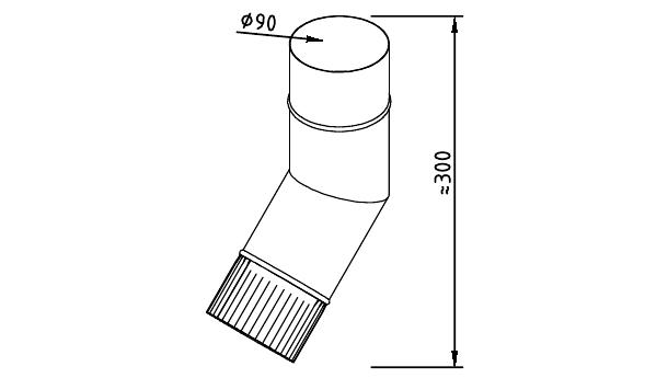 Чертеж фальцевого водосточного колена 90 мм
