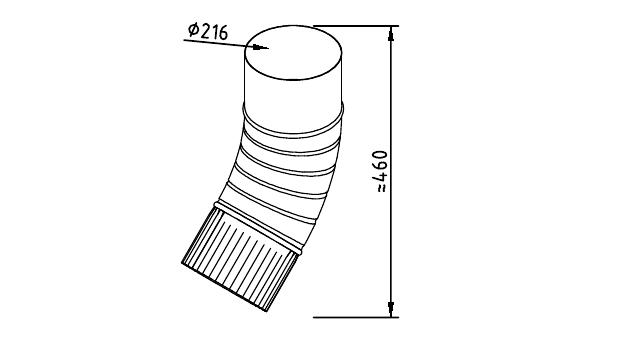 Чертеж гофрированного водосточного колена 216 мм