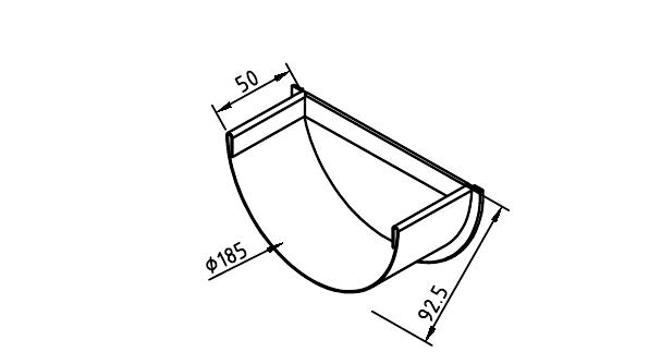 Чертеж коттеджной заглушки желоба 185 мм