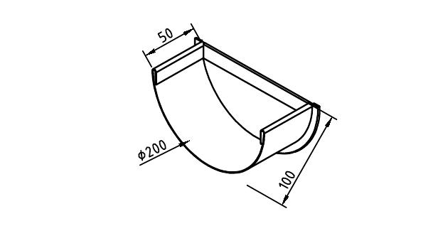 Чертеж коттеджной заглушки желоба 200 мм