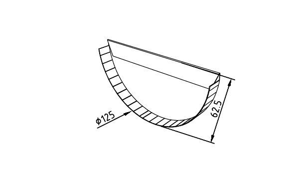 Чертеж промышленной заглушки желоба 125 мм