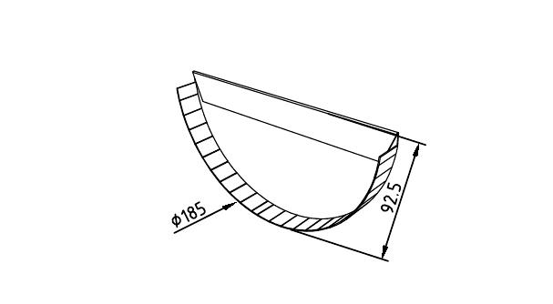 Чертеж промышленной заглушки желоба 185 мм