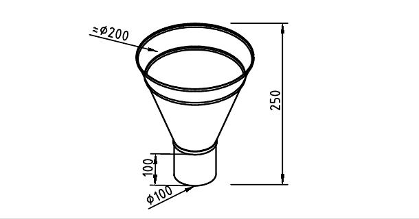 Чертеж водосточной воронки конусной 100 мм