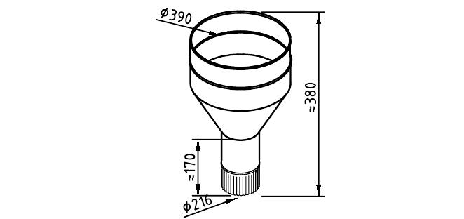 Чертеж водосточной воронки закрытой 216 мм