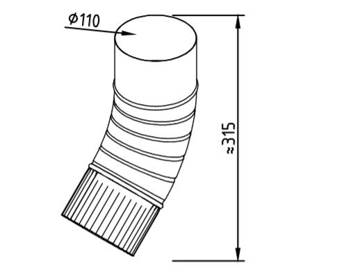 Колено водосточное оцинкованное 110 мм гофрированное
