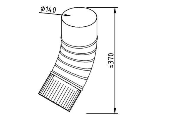 Колено водосточное оцинкованное 140 мм гофрированное