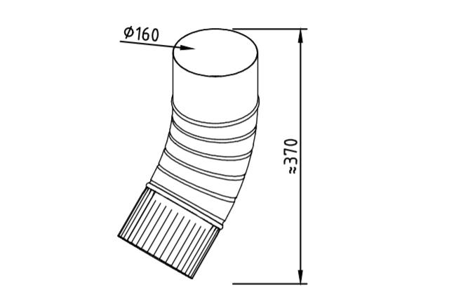 Колено водосточное оцинкованное 160 мм гофрированное