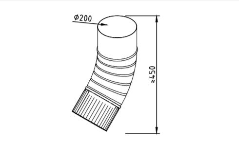 Колено водосточное оцинкованное 200 мм гофрированное
