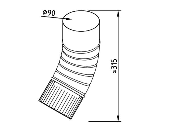 Колено водосточное оцинкованное 90 мм гофрированное