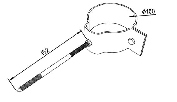 Охват гибкий 100 мм со шпилькой саморезом