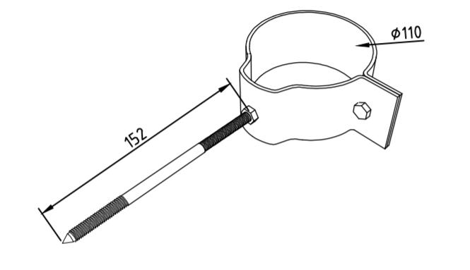 Охват гибкий 110 мм со шпилькой саморезом