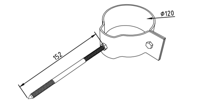 Охват гибкий 120 мм со шпилькой саморезом