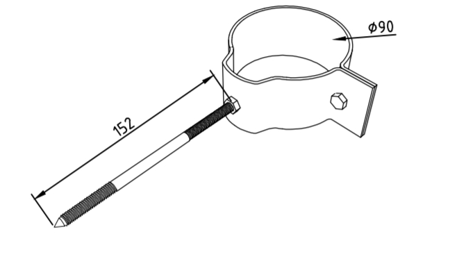 Охват гибкий 90 мм со шпилькой саморезом