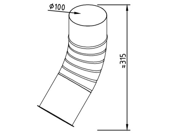 Отлив водосточный оцинкованный 100 мм гофрированный