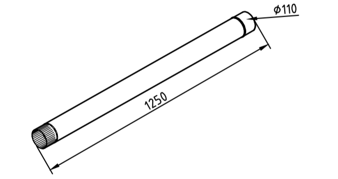 Труба водосточная 110 мм оцинкованная 1250 мм
