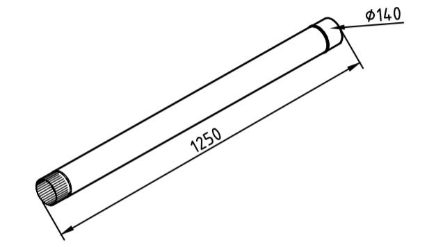 Труба водосточная 140 мм оцинкованная 1250 мм