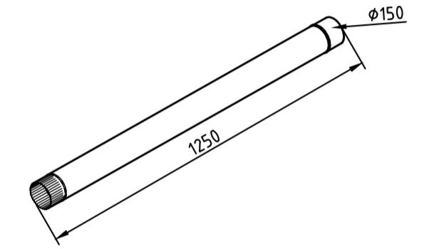 Труба водосточная 150 мм оцинкованная 1250 мм
