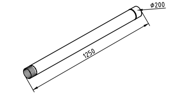 Труба водосточная 200 мм оцинкованная 1250 мм