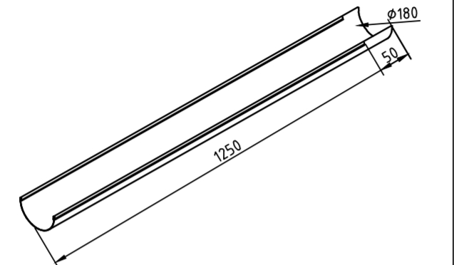 Желоб водосточный 180 мм оцинкованный 1250