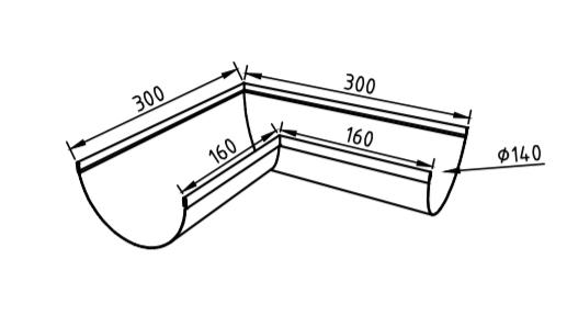 Угол желоба 140 мм оцинкованный 90 гр
