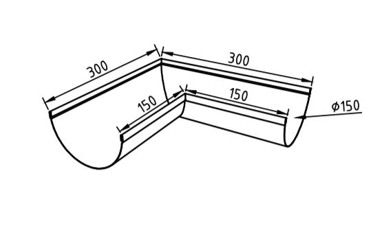 Угол желоба 150 мм оцинкованный 90 гр