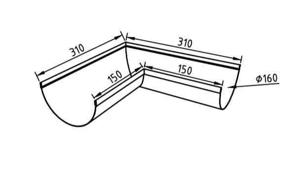 Угол желоба 160 мм оцинкованный 90 гр
