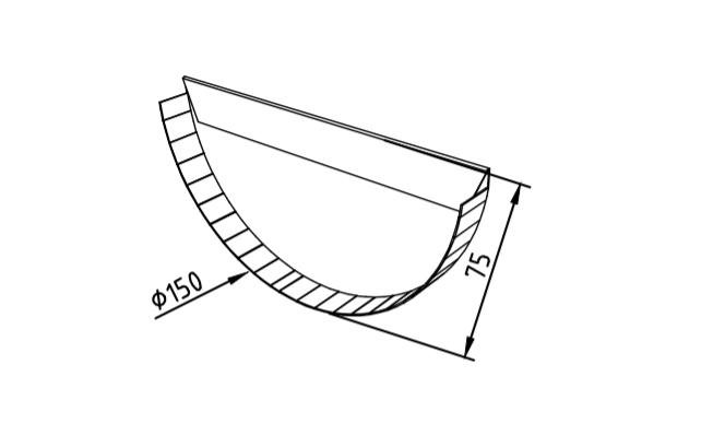 Заглушка желоба 150 мм оцинкованная промышленная