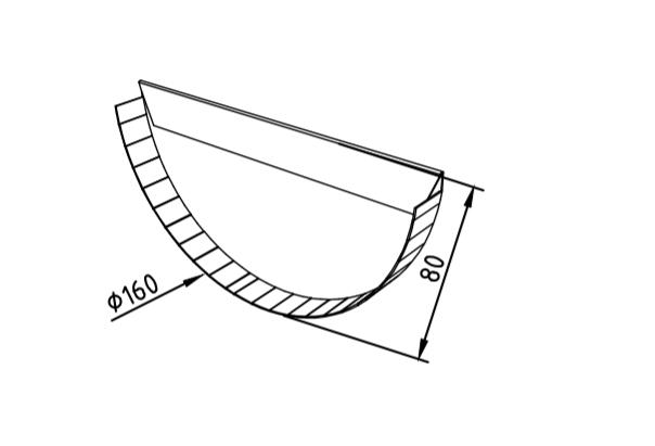 Заглушка желоба 160 мм оцинкованная промышленная