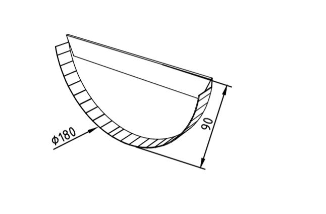 Заглушка желоба 180 мм оцинкованная промышленная