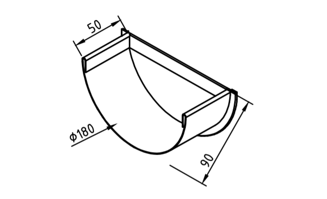 Заглушка желоба 180 мм оцинкованная