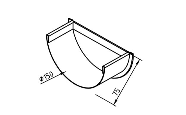 Заглушка желоба 150 мм оцинкованная