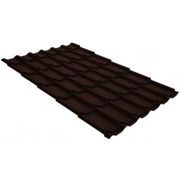 Металлочерепица классик Grand Line 0,5 GreenCoat Pural RR 887 шоколадно-коричневый (RAL 8017 шоколад)
