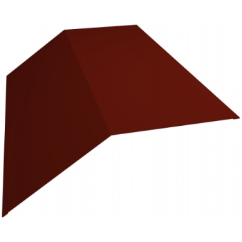 Планка конька плоского 145х145 0,45 PE с пленкой RAL 3009 оксидно-красный