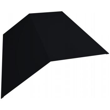 Планка конька плоского 145х145 0,5 Satin с пленкой RAL 9005 черный