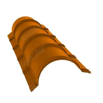 Планка конька полукруглого 0,45 PE с пленкой RAL 2004