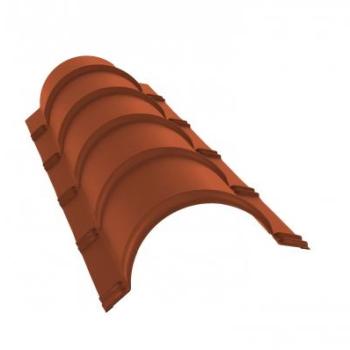 Планка конька полукруглого 0,45 PE с пленкой RAL 8004