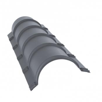 Планка конька полукруглого 0,45 PE с пленкой RAL 9006